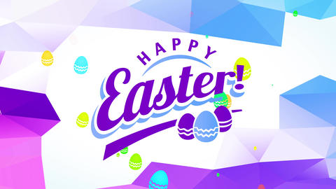 joyful happy easter gift card with colour printing decorated with miniature multicoloured eggs over Animation