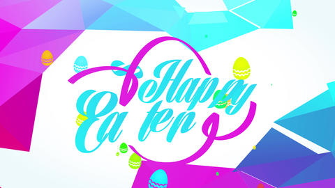 disco fancy happy easter reception postcard with magenta and turquoise color lettering and 3d Animation