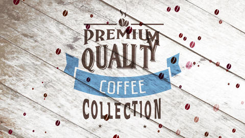 premium coffee pile advertisement with aged offset decorated with blue ribbon and small brewed beans Animation
