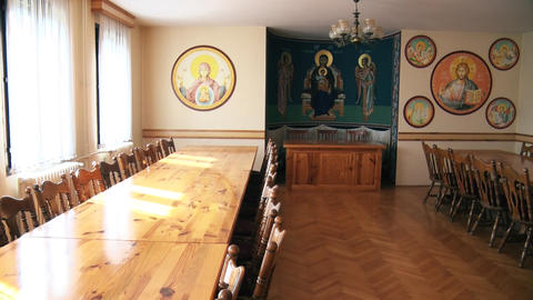 Beautiful diner room in the monastery GIF