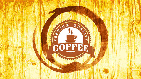 premium quality coffee marketing with original mug stain graphic over golden wood background with Animation