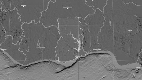 Zoom-in on Ghana outlined. Grayscale contrasted Animation