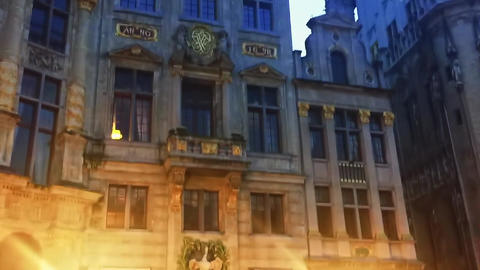 Streets of Brussels, the capital city of Belgium, architecture and historical Live Action