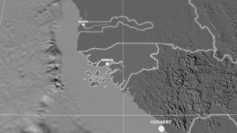 Zoom-in on Guinea-Bissau extruded. Grayscale contrasted Animation