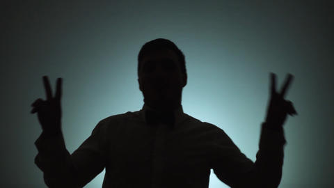 The shadow of a man on a light background. The man is dancing. Emotions, dance Live Action