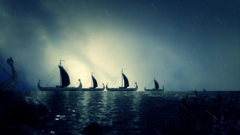 Fleet of Viking Ship Getting Close to Shore Live Action