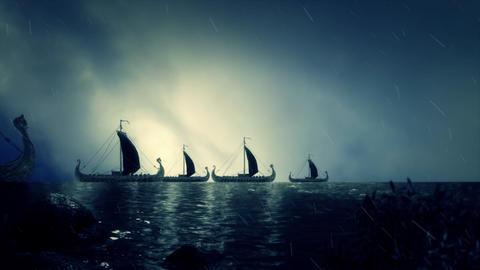 Big Fleet of Viking Ship Live Action