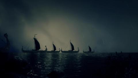 Fleet of Viking Ship Under a Lightning Storm Live Action