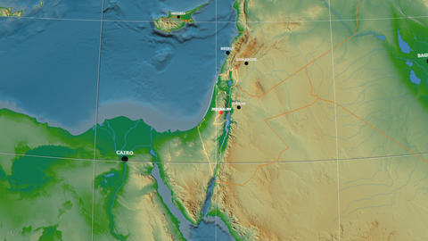 Zoom-in on Israel outlined. Physical Animation