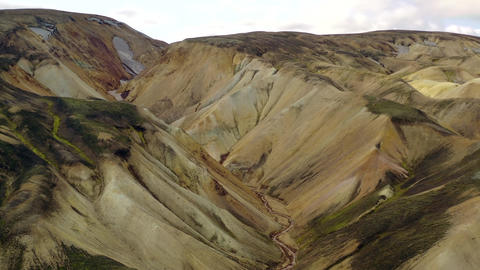 Volcanic Landscape In Iceland from above Live Action