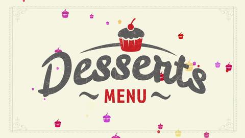 original treat menu identity mark concept with vintage cupcake illustration over youthful Animation