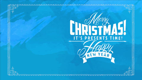 curly classic typography over tough blue scene for xmas and new years trade on presents time Animation