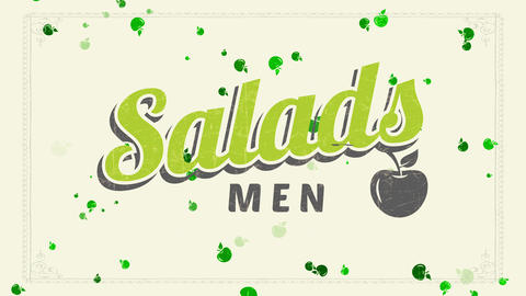 salads list old-fashioned script dream with blue and green writing decorated with worn out cherry Animation