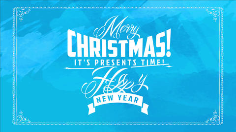 curly classic typography over intense blue background for christmas and new years sale on presents Animation