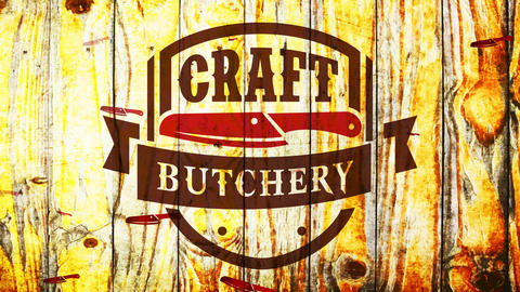 craftsmanship butchery store classical seal with wild western part and cutlery over timber scene Animation