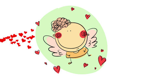 happy valentines day festive scene with little cupid angel flying on a sea of love represented with Animation