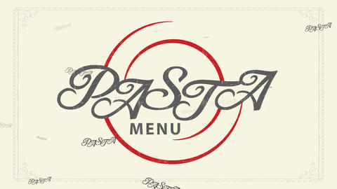 dumpling menu thinking with delicate formal handwriting over red swirl design over mature fashioned Animation