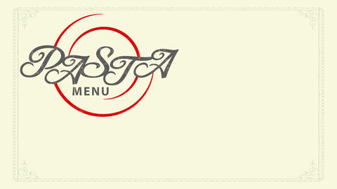 paste menu thinking with silky stylish calligraphy over red spiral design over elderly fashioned Animation