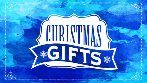 blue winter sale sign offering christmas gifts with classic elegant emblem over watercolor Animation