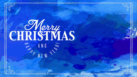 merry xmas and satisfied new year written with large and size white typography over hand Animation