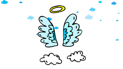 angel feather wings floating in heaven alone with clouds moving behind it suggesting they are CG動画