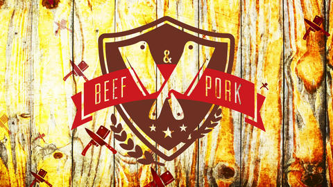 cattle and pork murder shop advertising with medieval style emblem with huge cutlery junction on Animation