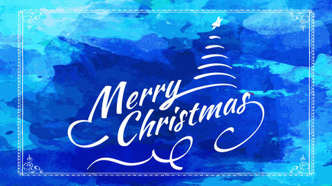 merry christmas greeting card with simple design of curly letters with pine tree with star over blue Animation
