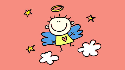 masculine baby angel with cute innocent face smiling and trying to fly higher with his little wings Animation
