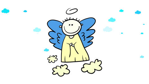 boy angel or cherub contemplating humanity with innocence and love floating above the surface over CG動画