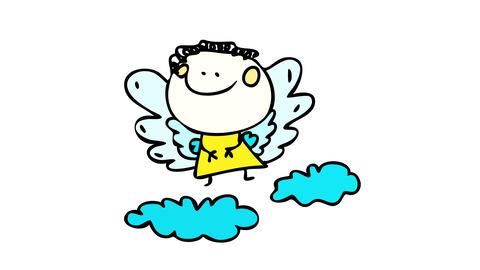 simple but cute depiction of an angel flying over blue clouds with big smile suggesting its a Animation
