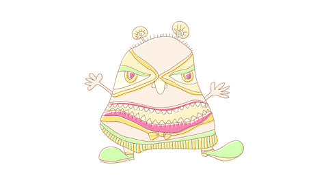 strange monster dressed with mexican folkloric outfit with the body of an obese man with no neck Videos animados