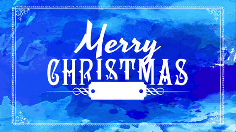 winter holiday sign with merry christmas written with white old fashioned typography over dark blue Animation