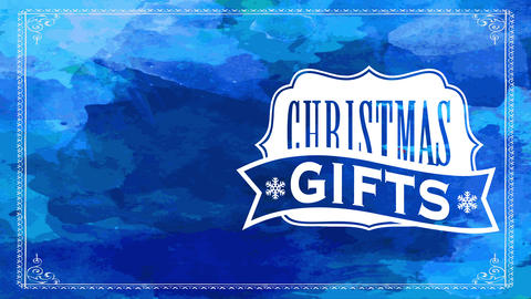 blue seasonal transfer sign offering christmas gifts with classic stylish badge over watercolor Animation