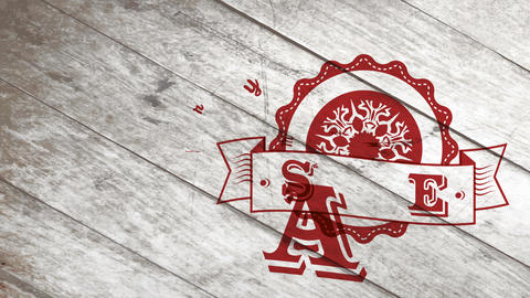 xmas new years freeze transfer publicity with red rippled symbol ornate with crystal over plywood Animation