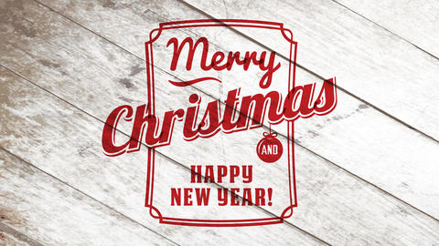 retro merry christmas and happy new year sale sign with red frame and calligraphy over wooden Animation