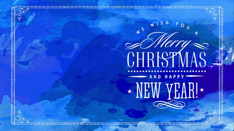 merry xmas and cheerful new year with elegant satin white calligraphy over blue nails multicolor Animation
