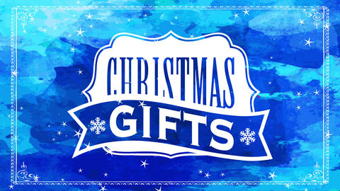 blue seasonal sale sign offering xmas gifts with classic formal insignia over watercolour scene with Animation