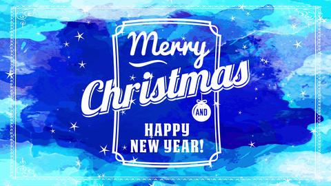 merry xmas and smiling new year blue watercolor card with aged writing inner edge with timber bulb Animation