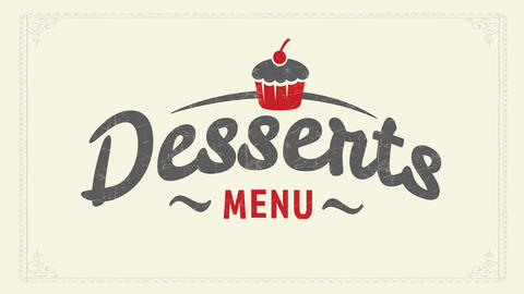 original desserts menu identity brand concept with vintage cupcake graphic over youthful calligraphy Animation