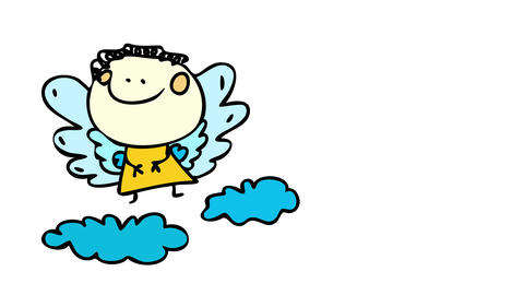 baby angel wearing yellow robe with big layered wings and standing on fluffy clouds representing CG動画
