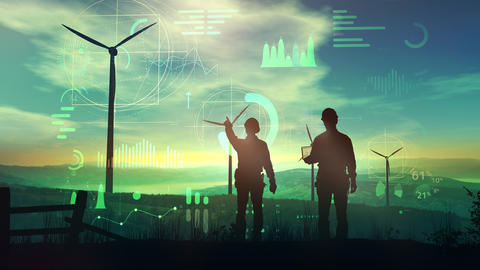 Engineers are watching over the work of wind turbines and virtual data Fotografía