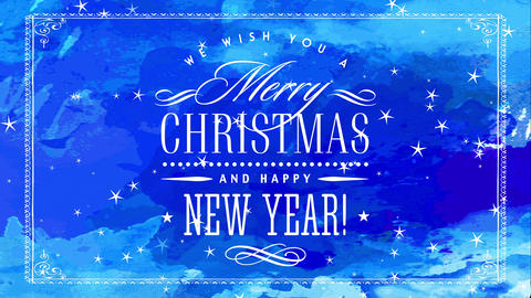 merry xmas and cheerful new year with fancy satin white handwriting over blue hand multicoloured Animation