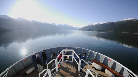 Point of view time lapse of a ship cruising up Endicott Arm in Tracy Arm - Fords Terror Wilderness i Footage