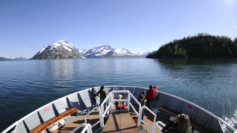 Point of view time lapse of a ship cruising fast through Glacier Bay National Park in Southeast, Ala Footage