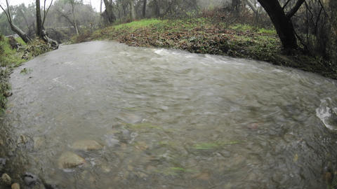 Time lapse of San Antonio Creek flooding during a storm... Stock Video Footage