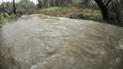 Time lapse of San Antonio Creek flooding during a storm in Ojai, California Footage