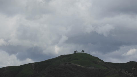 Fast time lapse of a developing storm over two trees above Ventura, California Footage