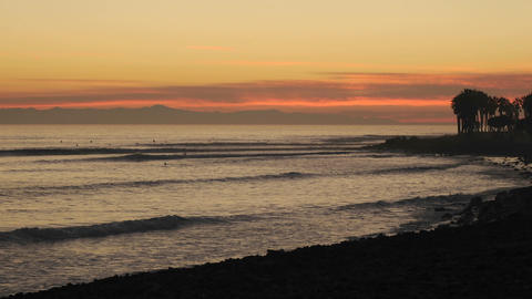 Time lapse of waves and surfers at Ventura Point at... Stock Video Footage