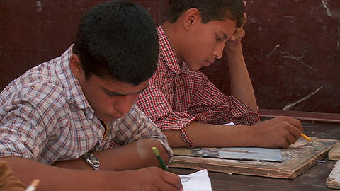 Boys study in a school in Kabul, Afghanistan Stock Video Footage
