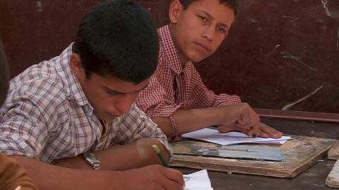 Boys study in a school in Kabul, Afghanistan Footage